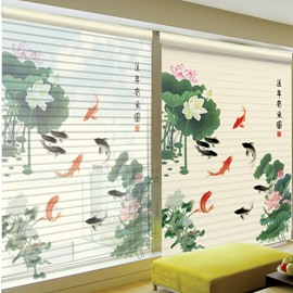 Goldfish Playing between Lotus Printing Polyester Shangri-La Blind & Roller Shades