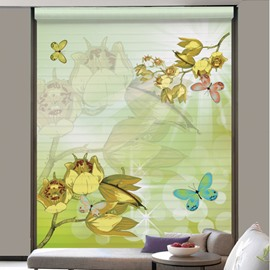 Watercolor Beautiful Butterfly and Flower Printing Shangri-La Blind & Roman Shades