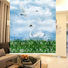 Couple Lovely White Swan 3D Printing Blackout Roller Shades