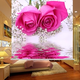 Romantic Pink Roses Printing Blackout 3D Roller Shades