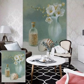 Portray Oil Painting White Flower and Drifting Bottle Printing Blackout 3D Roller Shades