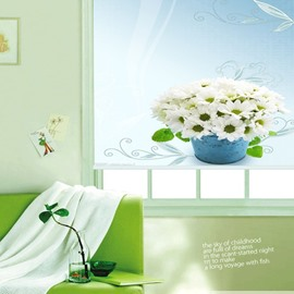 A Basket White Daisy Printing 3D Roller Shades
