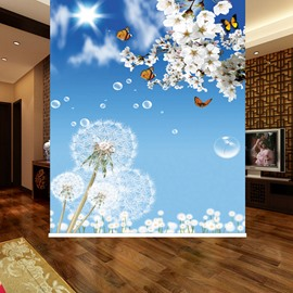 White Dandelion and Blue Sky 3D Printed Blackout Roller Shades