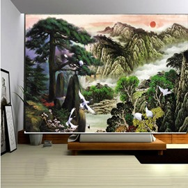 Chinese Style Mountain and Sea Painting 3D Printed Roller Shades