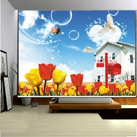 3D White Doves and Tulips Printed Beautiful Scenery Polyester Blackout Curtain Roller Shades
