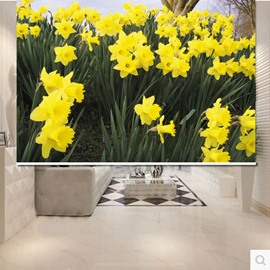 Vivid Yellow Flowers 3D Printed Roller Shades