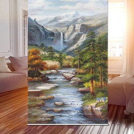 Oil Painting Stream Scenery 3D Printed Roller Shades