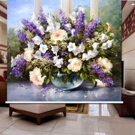 Oil Painting Romantic Flowers 3D Printed Roller Shades