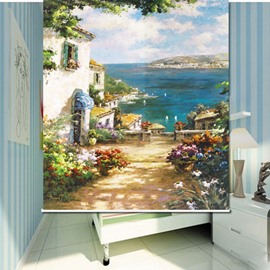 Seaside Villa with Flowers 3D Printed Roller Shades