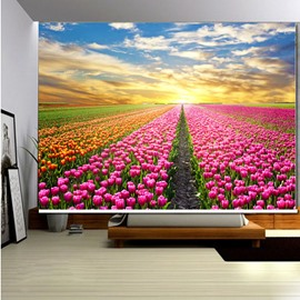 Pink Tulip Field 3D Printed Roller Shades