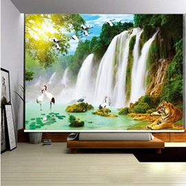 3D Tiger and Cranes with Flowing Waterfalls Printed Decoration Curtain Roller Shade