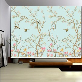 3D Beautiful Birds on the Blooming Trees Printed Natural Style Decoration Roller Shade