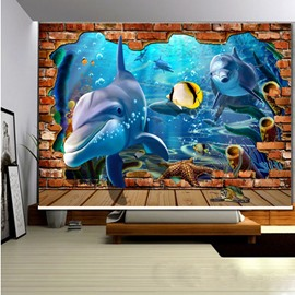 Adorable Dolphin and Fish Swimming 3D Printed Roller Shades