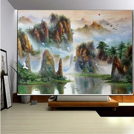 Oil Painting Mountain and Sea 3D Printed Roller Shades