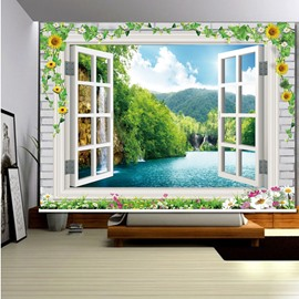 3D Green Trees and Peaceful Lake out of Window Natural Style Printed Roller Shade