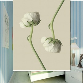 3D Printed White Rose Simple Style Blackout Roller Shades