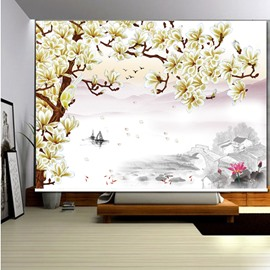 3D Beige Magnolia and Lotus Printed Vintage Style Blackout Roller Shades