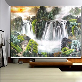3D Mountains and Rivers Setting Sun Printed Blackout Roller Shades