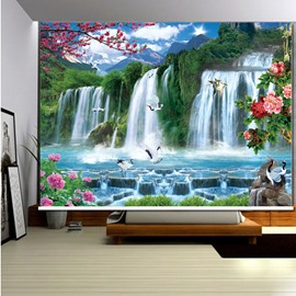 3D White Cranes Flying in the Lake and Mountains Printed Blackout Roller Shades