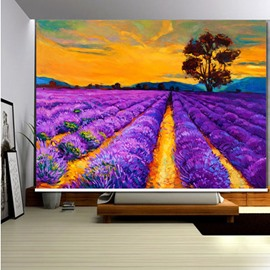 3D Purple Lavenders and Red Trees Romantic Style Decoration and Blackout Roller Shades