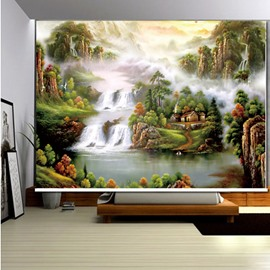 3D Flowing Waterfalls and Mountains with Cottages Printed Decoration and Blackout Roller Shades