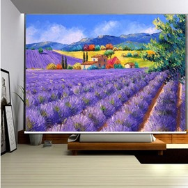 3D Purple Lavenders Printed Romantic Style Decoration and Blackout Roller Shades