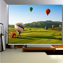 3D Blue Sky and Broad Prairie with parachutes Printed Decoration Room Curtain Roller Shades