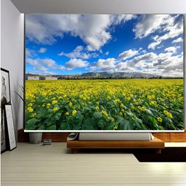 3D Beautiful Canola Flowers Printed Countryside Style Decoration and Blackout Roller Shades