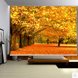 3D Yellow Leaves and Trees Printed Fall Scenery Decoration and Water-Proof Roller Shades