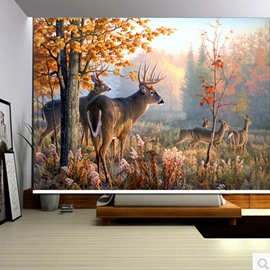 3D Elks and Yellow Trees Printed Wild animals Style Polyester Blackout Roller Shades