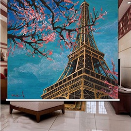 3D Plum Blossoms and Tower Printed Decoration Polyester Curtain Roller Shade