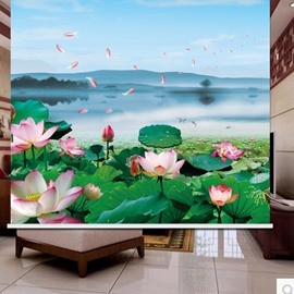 3D Lotus and Lake Printed Concise Style Decoration and Blackout Curtain Roller Shade