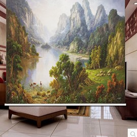 3D Mountains and Rivers with Green Trees Printed Scenery Style Decoration Curtain Roller Shade