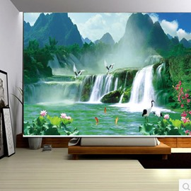 3D Mountains and Rivers with Cranes and Lotus Printed Natural Scenery Blackout Curtain Roller Shade