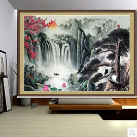 3D Old Pines and Mountains with Plum Blossoms Printed Natural Style Blackout Curtain