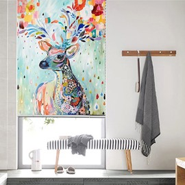 Creative Elk and Colorful painting Roller Shades