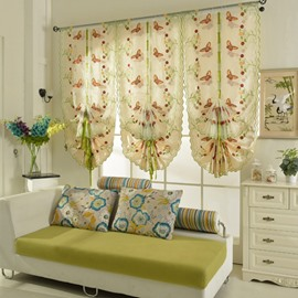Colorful Butterflies Embroidery Semi-Blackout Tied-Up Roman Shades