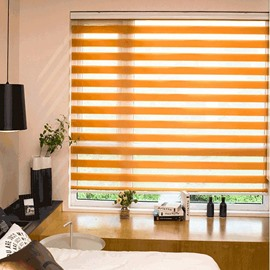 Country Style Orange Roller Blinds Custom Sheer Shades