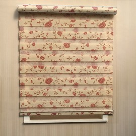 Country Style Red Floral Pattern Custom Sheer Shades