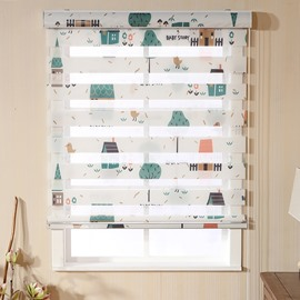 Childlike Green Cabin and Tree Printing Custom Sheer Shades