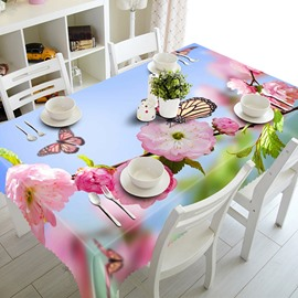 Fresh Pink Flowers Pattern 3D Tablecloth