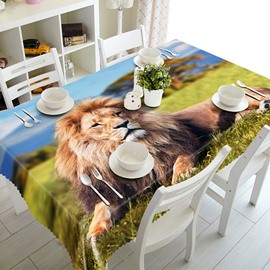 Creative Lion Pattern Polyester 3D Tablecloth