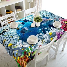 Modern Design Broken Wall and Dolphin Pattern 3D Tablecloth