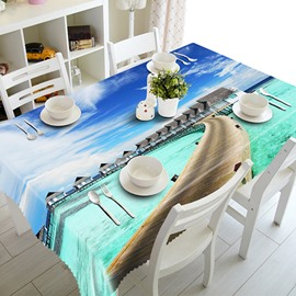 Blue Sky and Seaside Bridge Pattern 3D Tablecloth