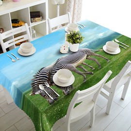 Prairie Scenery and Zebra Pattern 3D Tablecloth