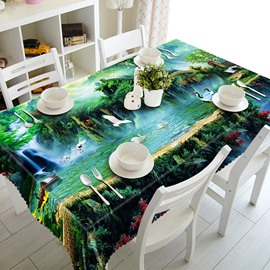 Fairyland Scenery and Red-crowned Crane Pattern 3D Tablecloth