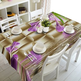 Brown Beautiful Polyester Purple Flowers Pattern 3D Tablecloth