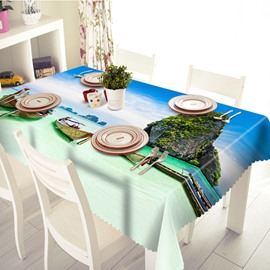 Amazing Seaside Boat and Hill Scenery 3D Tablecloth
