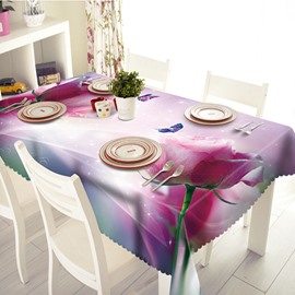Pink Roses and Butterfly Pattern 3D Tablecloth
