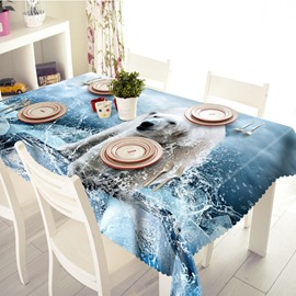 Cool Polar Bear and Water Pattern 3D Tablecloth